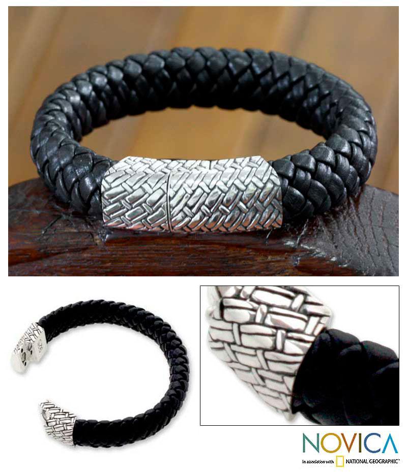 Sterling Silver Men's 'Emperor' Leather Bracelet(Indonesia)
