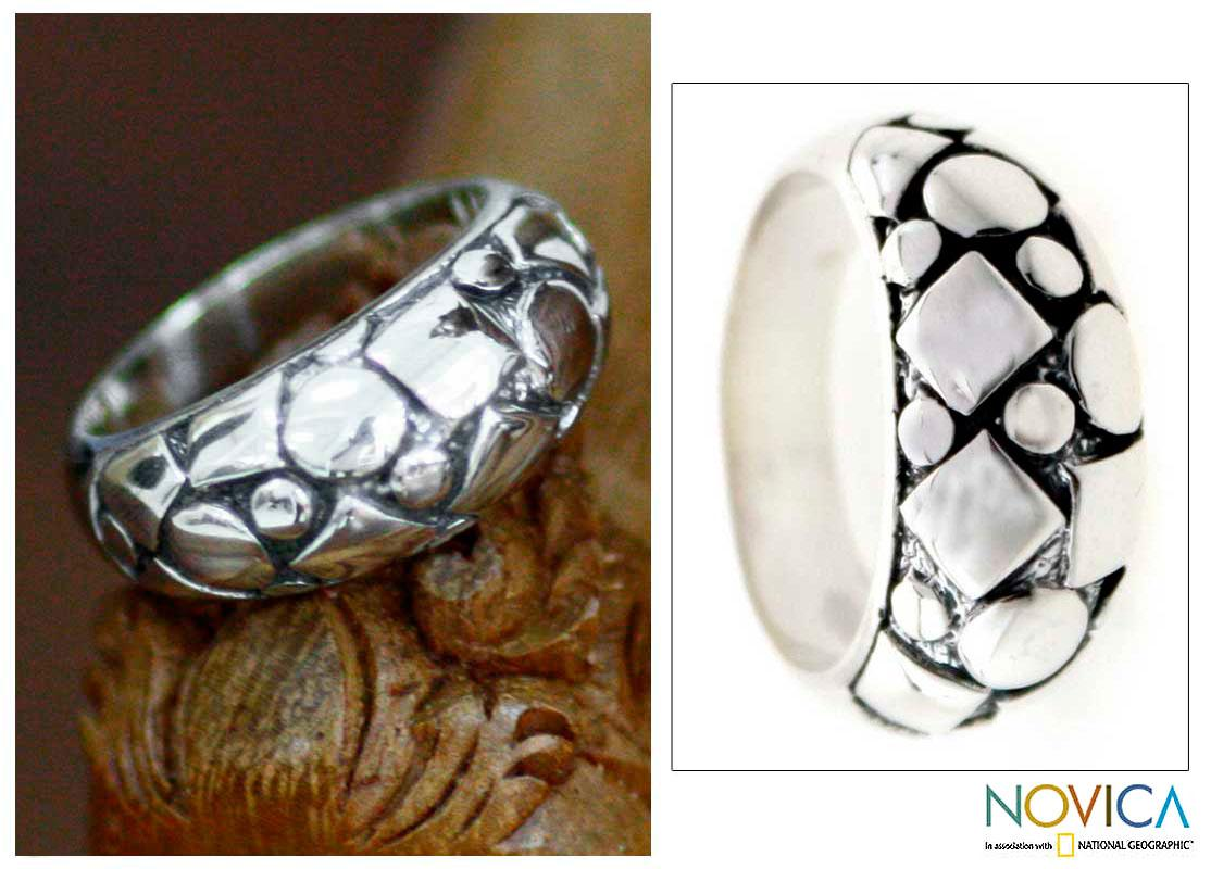 Sterling Silver Men's 'Elements' Ring (Indonesia)
