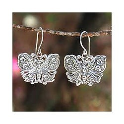 Handcrafted Sterling Silver 'Spring Butterfly' Earrings (Thailand)