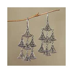 Sterling Silver 'Java Belle' Chandelier Earrings (Indonesia)