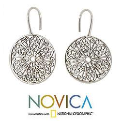 Sterling Silver 'Blossoming Extravaganza' Earrings (India)