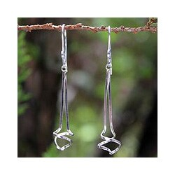 Sterling Silver 'Angel Key' Dangle Earrings (Thailand)
