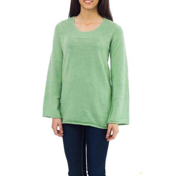 Alpaca Wool Blend 'Mint Charisma' Sweater (Peru)