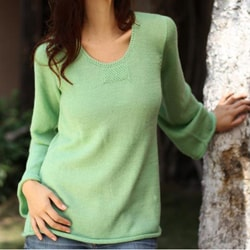 Alpaca Wool Blend 'Mint Charisma' Sweater (Peru)