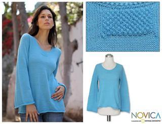 Alpaca Wool Blend 'Sky Blue Charisma' Sweater (Peru)