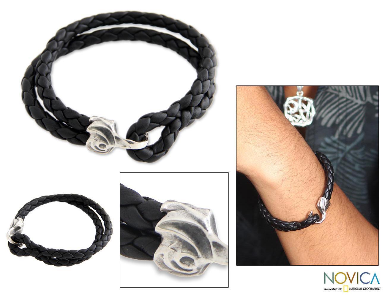 Sterling Silver Men's 'Warrior' Leather Bracelet (Indonesia)