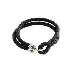 Sterling Silver Men's 'Warrior' Leather Bracelet (Indonesia)