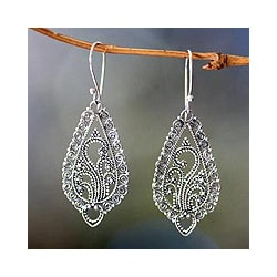 Sterling Silver 'Fern Flowers' Earrings (Indonesia)
