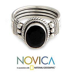 Sterling Silver 'Bali Glow' Onyx Ring (Indonesia)