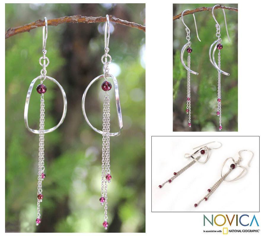 Sterling Silver 'Crescent Moon Love' Garnet Earrings (Thailand)