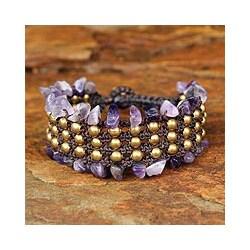 Brass 'Lanna Dazzle' Amethyst Wristband Bracelet (Thailand)