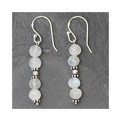 Sterling Silver 'Pillars of Love' Moonstone Earrings (India)