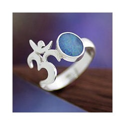 Sterling Silver 'Hindu Meditation' Opal Ring (Indonesia)