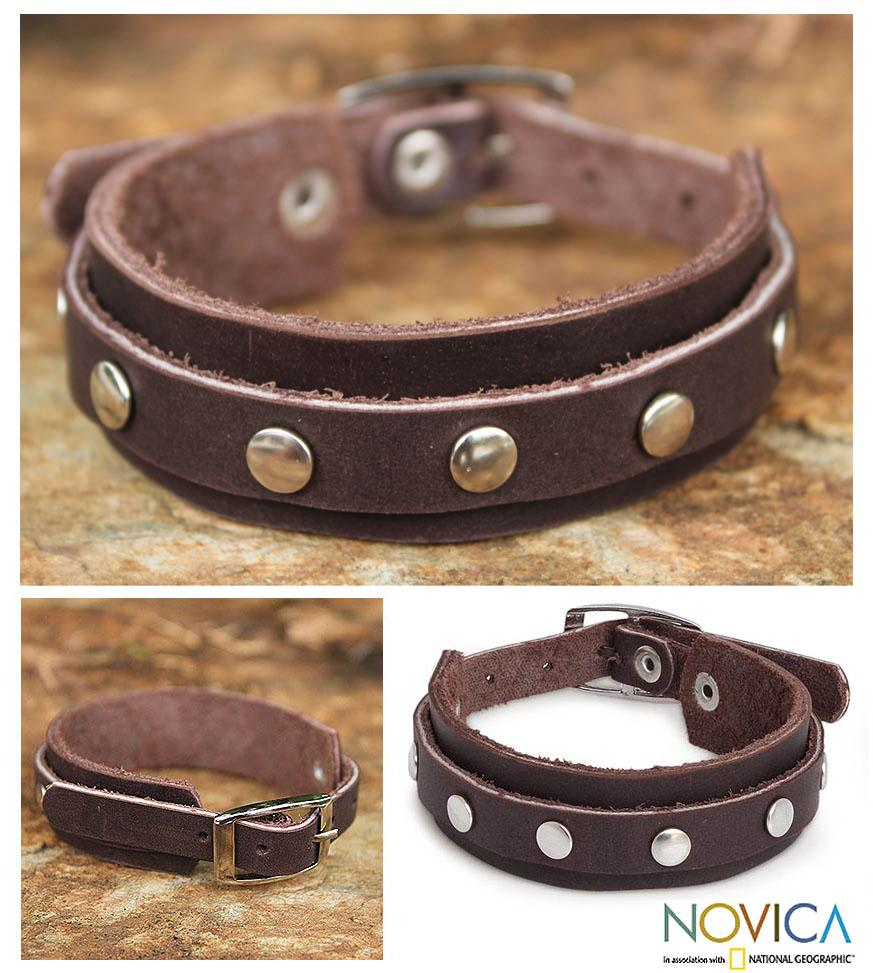 Leather 'Dong Bang Forest' Wristband Bracelet (Thailand)
