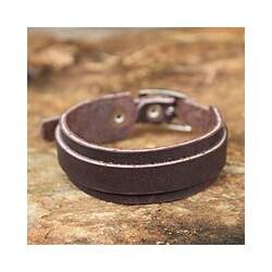 Leather 'Sukhothai Minimalist' Wristband Bracelet (Thailand)