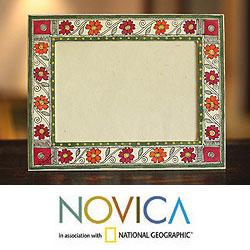 Handcrafted Card Stock 'Bihar Flowers' Madhubani Photo Frame (India)