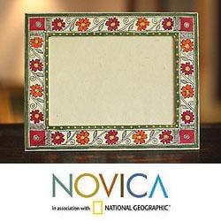 Handcrafted Card Stock 'Bihar Flowers' Madhubani Photo Frame (India)