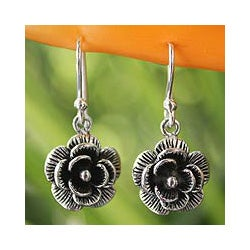 Sterling Silver 'Loy Kratong Rose' Earrings (Thailand)