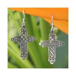 Sterling Silver 'Cross of Legends' Dangle Earrings (Thailand)
