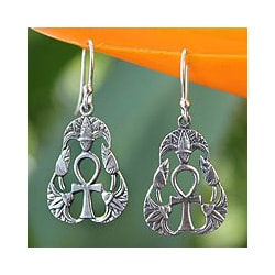 Sterling Silver 'Blossoming Ankh' Dangle Earrings (Thailand)