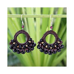 Garnet 'Black Lanna' Agate Chandelier Earrings (Thailand)