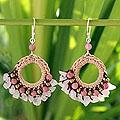 Rose Quartz 'Pink Lanna' Rhodonite Chandelier Earrings (Thailand)