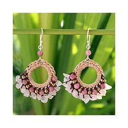 Rose Quartz 'Pink Lanna' Rhodonite Chandelier Earrings (Thailand)