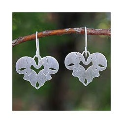 Sterling Silver 'Sweetheart Elephants' Heart Earrings (Thailand)