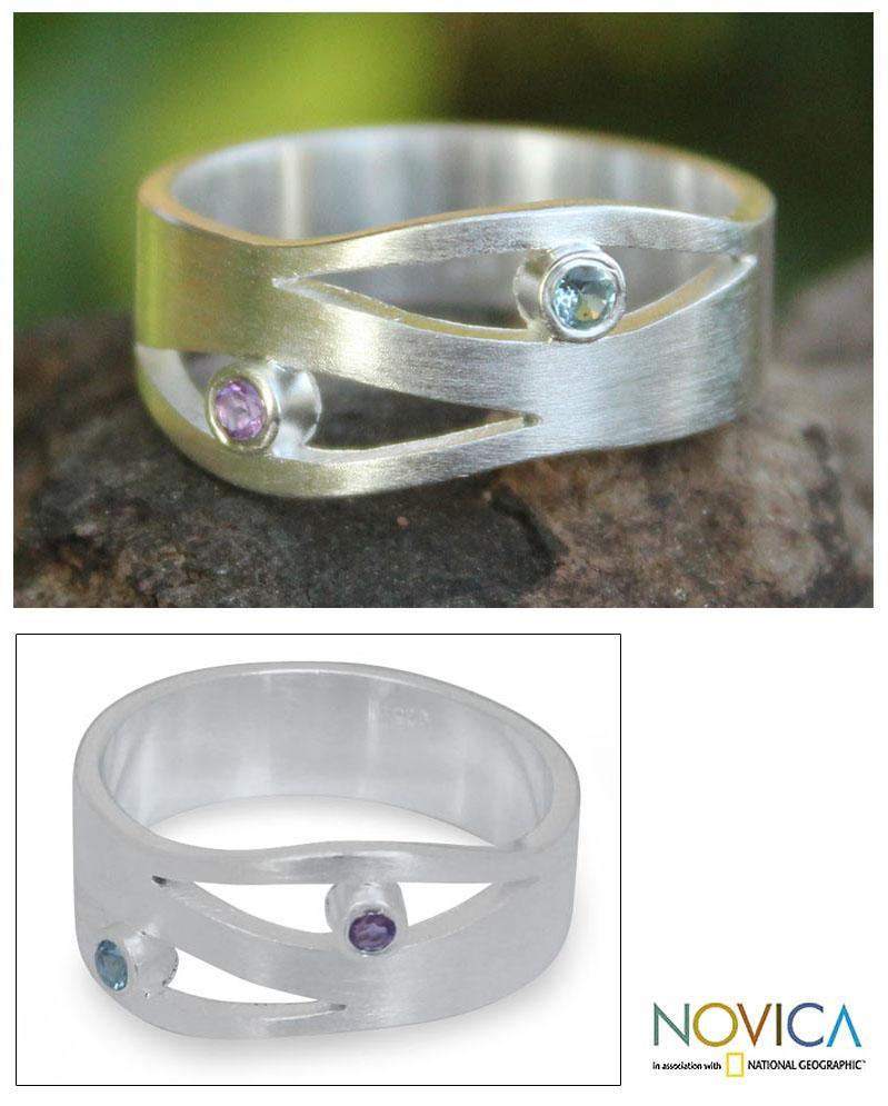 Sterling Silver 'Revelations' Amethyst Blue Topaz Ring (Thailand)