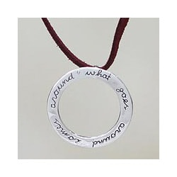 Sterling Silver 'Karma Mantra' Necklace (Indonesia)