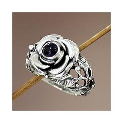 Sterling Silver 'Rose of Peace' Amethyst Ring (Indonesia)
