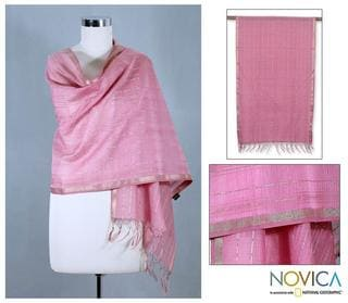 Handcrafted Cotton and Silk 'Maheshwari Rose' Shawl (India)