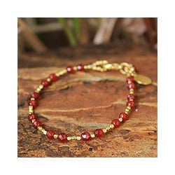 Gold Overlay 'Orange Divine Deva' Quartz Beaded Bracelet (Thailand)