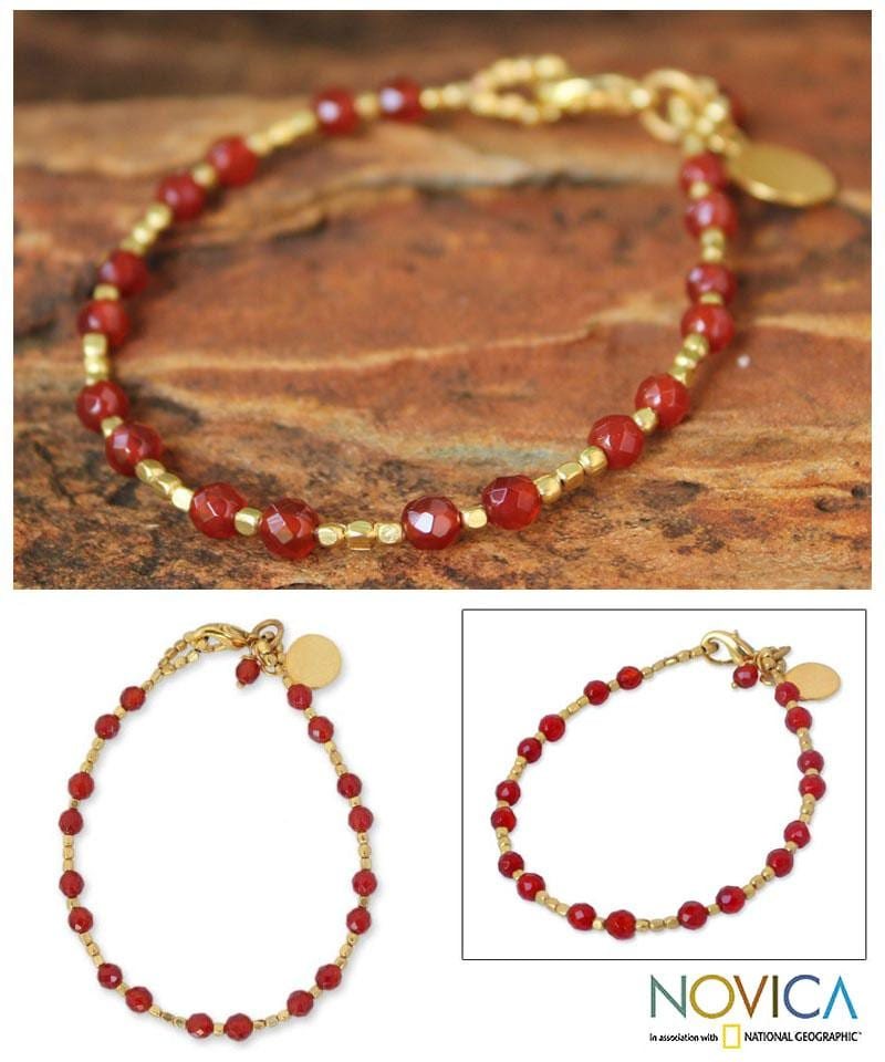 Gold Overlay 'Orange Divine Deva' Quartz Beaded Bracelet (Thailand)