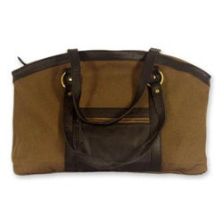 Cotton 'Darjeeling Brown' Leather Accent Shoulder Bag (India)