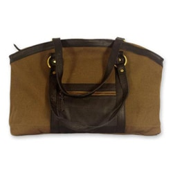 Cotton 'Darjeeling Brown' Leather Accent Shoulder Bag (India)