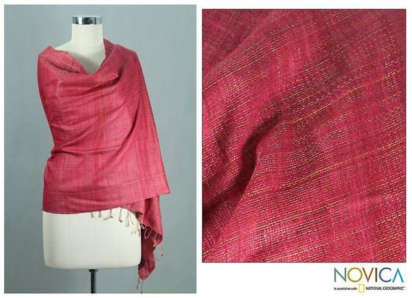 Handcrafted Silk 'Holiday Mood' Shawl (India)