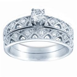 10k White Gold 1/2ct TDW Diamond Woven Bridal Ring Set (H-I, I1-I2)
