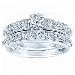 10k White Gold 3/4ct TDW Diamond Wedding Ring Set (H-I, I1-I2)