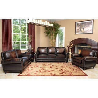 Abbyson Living Palermo Woodtrim Hand-rubbed Leather Sofa, Loveseat, and Armchair