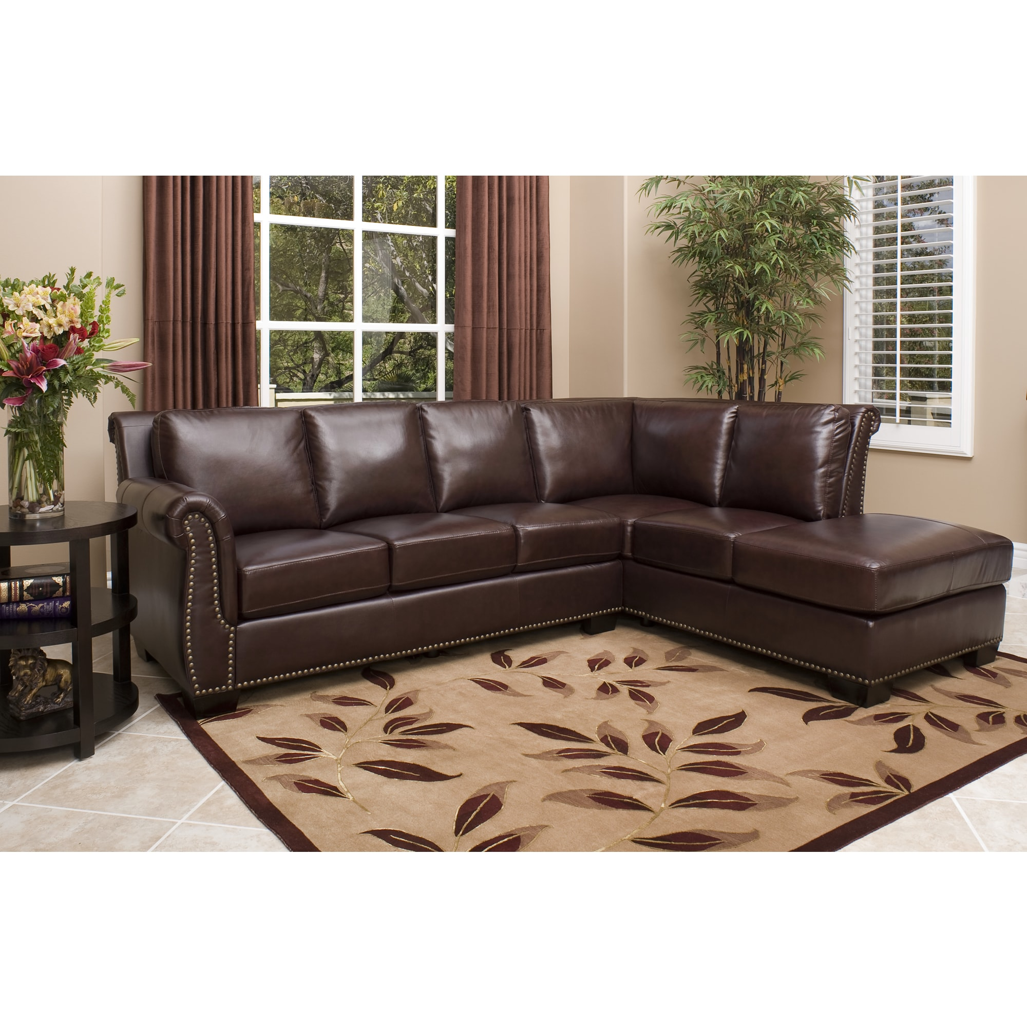 new leather sectional sofa couch living room furniture burgundy chiase