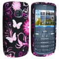 Purple Flower with Butterfly TPU Rubber Skin Case for Nokia C3