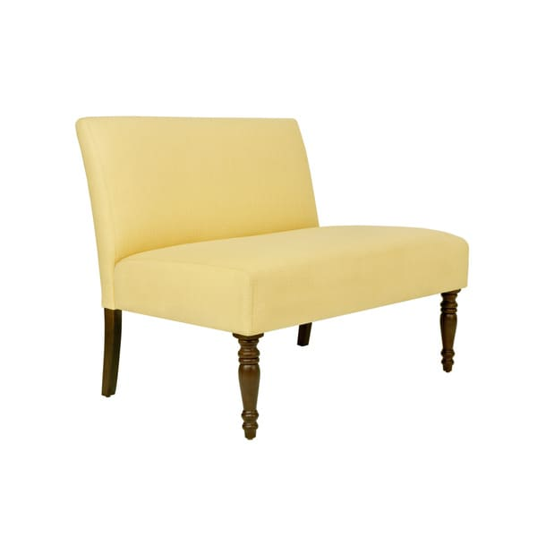 angelo:HOME Bradstreet Washed Buttercream Yellow Upholstered Armless Settee