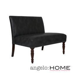 angelo:HOME Bradstreet Charcoal Gray Renu Leather Armless Settee