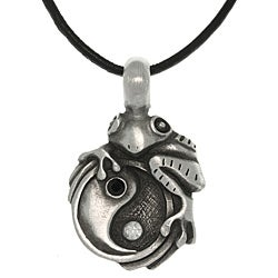 CGC Pewter Unisex Frog on Yin Yang Necklace