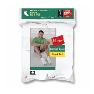 Hanes Men's White Ankle Socks (Pack of 6)