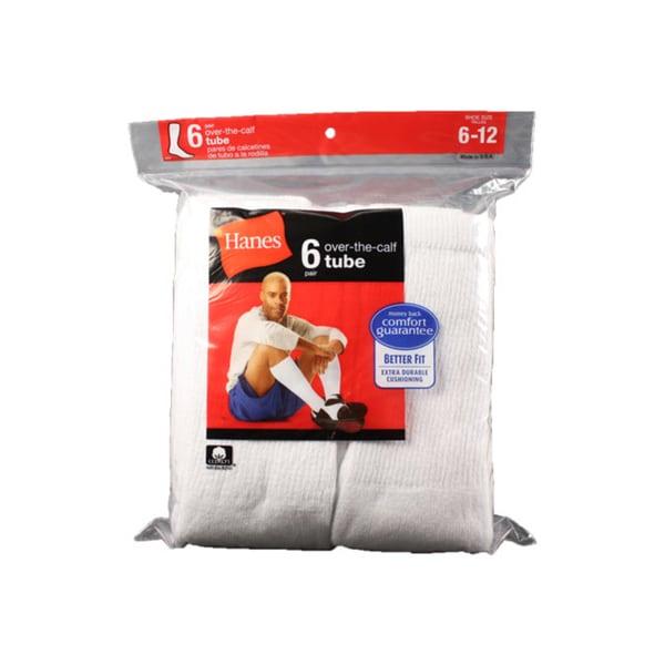 Hanes Men's White Over-the-Calf Tube Socks (Pack of 6)