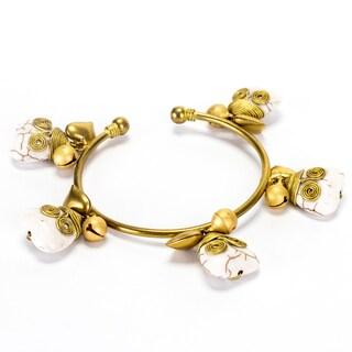 Goldtone White Turqouise Heart Bracelet (Thailand)