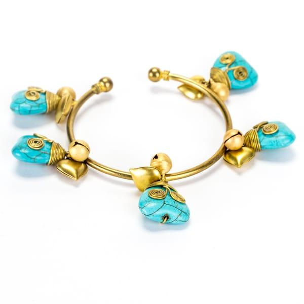 Goldtone Turquoise Heart Bracelet (Thailand)