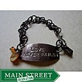 Vintage Brass 'Love Never Fails' Bracelet